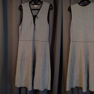 Black and White Woven Sleeveless Dress